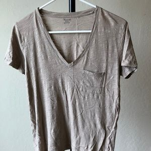 Madewell Whisper Cotton V-Neck Pocket Tee (Small)